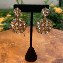 Load image into Gallery viewer, Gold Tone Crinkle Drop Earrings with Scattered Rhinestones
