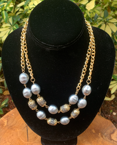Two Row Gray Pearl and Gold Sparkle Necklace