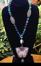 Load image into Gallery viewer, Black Glow Beads with Hematite, Pearl with Butterfly Pendant