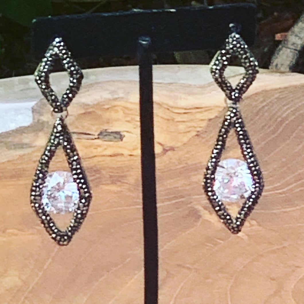 Hematite and Floating Crystal Dangling Earrings