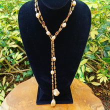 Load image into Gallery viewer, Multi-Color Semi Precious Stone and Baroque Pearl Lariat Necklace