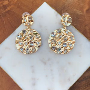 Gold Tone Crinkle Drop Earrings with Scattered Rhinestones