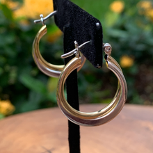 Load image into Gallery viewer, Two Tone Twist Hoop Earrings