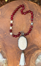 Load image into Gallery viewer, Wine Colored Faceted Bead Necklace with Cameo and Tassle Pendant