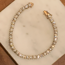 Load image into Gallery viewer, Gold Tone Cubic Zirconia Tennis Bracelet