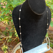 Load image into Gallery viewer, Gun Metal and Clear Crystal by the Yard 3 Way Mask Holder Chain.  Necklace or Bracelet