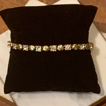 Load image into Gallery viewer, Gold Tone Circle and Crystal Tennis Bracelet