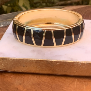 Gold Tone with Black Enamel Clamp Bracelet
