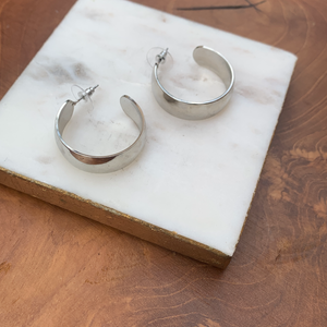 Thick Silver Tone Hoop Earrings