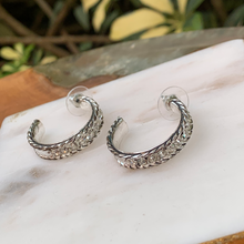 Load image into Gallery viewer, Silver Tone Cable With Crystals Hoop Earrings