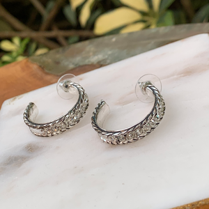 Silver Tone Cable With Crystals Hoop Earrings