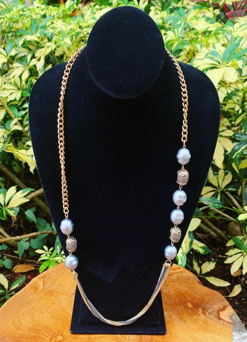 Long Gray Pearl and Gold Sparkle Necklace