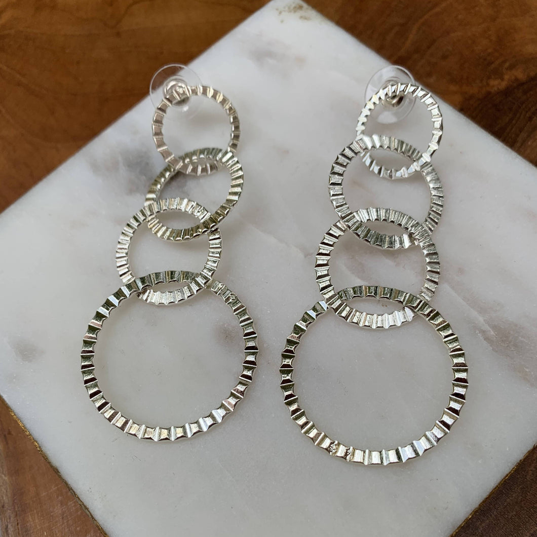 Ribbed Silver Tone Circle Drop Earrings
