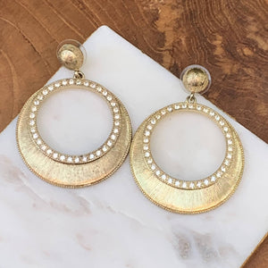 Gold Tone Circle with Rhinestone Drop Earrings