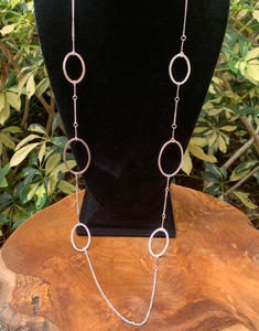 Silver Tone Open Oval Station Necklace