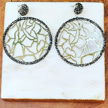 Load image into Gallery viewer, Silver Tone Circle with Hematite Abstract Design Earrings