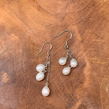 Load image into Gallery viewer, Sterling Silver and Pearls Drop Earrings