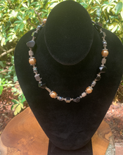 Load image into Gallery viewer, Onyx, Hematite, Glass Beads and Pewter Hand Crafted Necklace