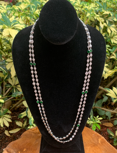 Crystal by the Yard Long Necklace with Emerald Accents