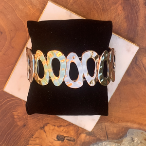 Tri Color Hammered Stretch Bracelet