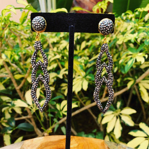 Crushed Black Hematite on Gold Triple Drop Earrings