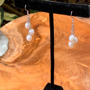 Sterling Silver and Pearls Drop Earrings