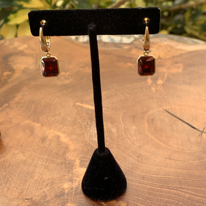 Gold Tone Earrings with Red Emerald Cut Dangle