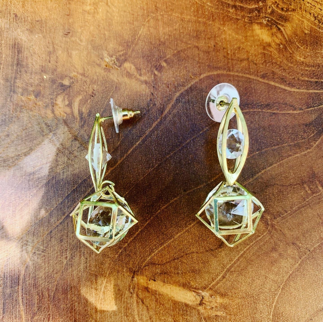 Gold Tone Crystal in a Cage Dangling Earrings