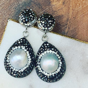 Hematite and Pearl Tear Drop Shape Earrings