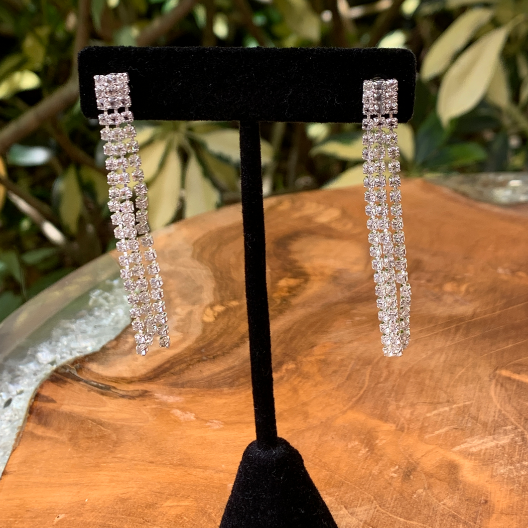 Triple Rhinestone Strands Earrings