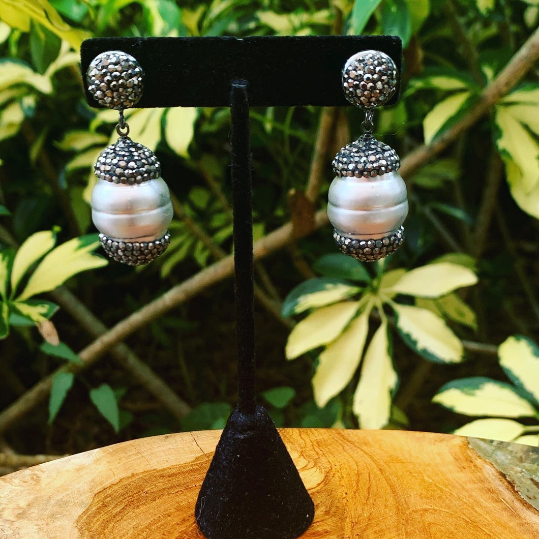 Hematite and Silver/Grey Pearl Large Drop Earrings