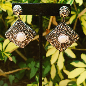 Hematite and Pearl Diamond Shape Drop Earrings