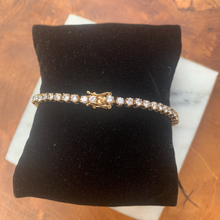 Load image into Gallery viewer, Gold Tone and Cubic Zirconia Tennis Bracelet