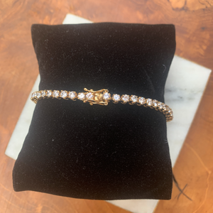 Gold Tone and Cubic Zirconia Tennis Bracelet