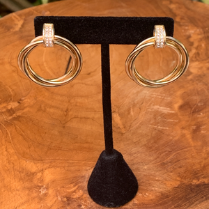 Gold Tone Three Ring With Crystal Accents Drop Earrings