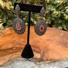 Load image into Gallery viewer, Hematite With Red Jasper Oval Drop Earrings