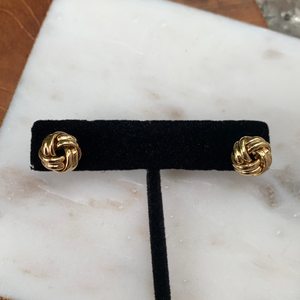 Designer Inspired Gold Tone Knot Post Earrings