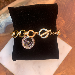 Gold Tone Link Bracelet with Floating Crystal Charm