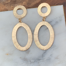 Load image into Gallery viewer, Gold Tone Circle with Oval Textured Drop Earrings