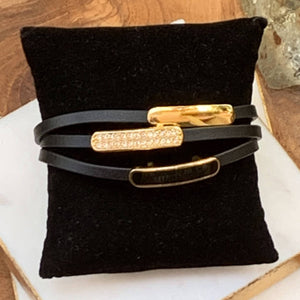 Black Leather Three Strand Gold Accent Bracelet