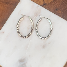 Load image into Gallery viewer, Designer Inspired Silver Tone Cable Hoop Earrings