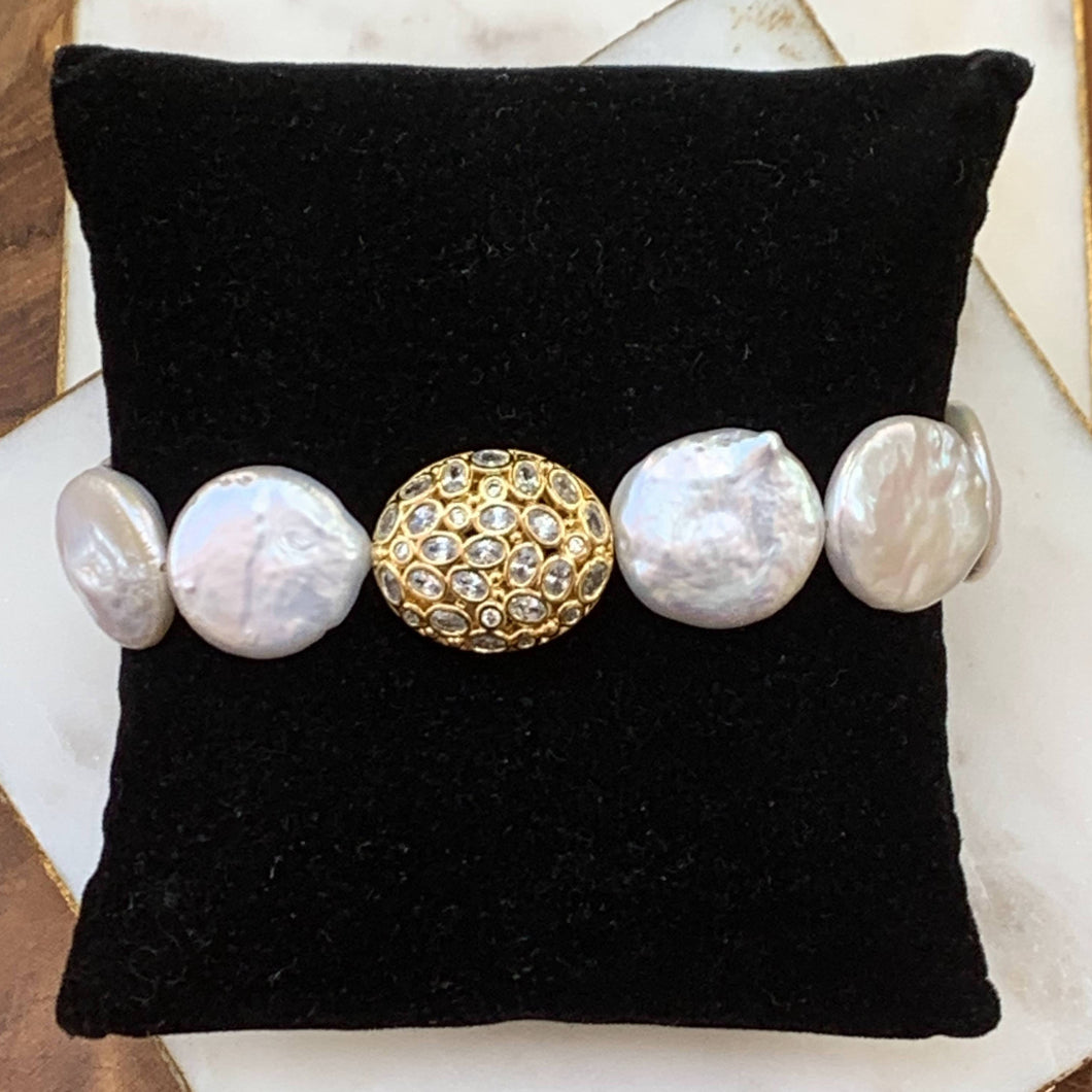 Coin Pearl with Gold and Cubic Accent Stetch Bracelet