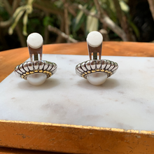 Load image into Gallery viewer, CLIP Two Tone with Pearl Center Designer Inspired Earrings
