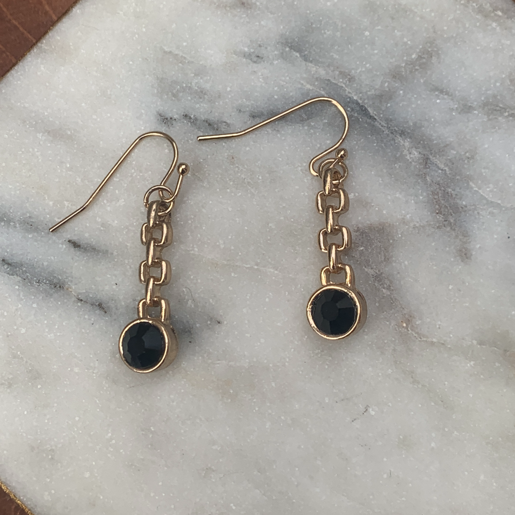 Gold Tone Dangle Earring with Black Stones