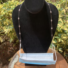 Load image into Gallery viewer, Silver Tone and Clear Crystal by the Yard 3 Way Mask Holder Chain.  Necklace Bracelet