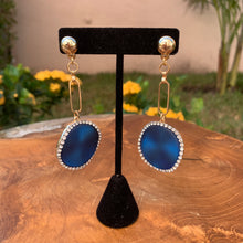 Load image into Gallery viewer, Gold Tone Drop Earrings With Blue Disk With Rhinestone Edges