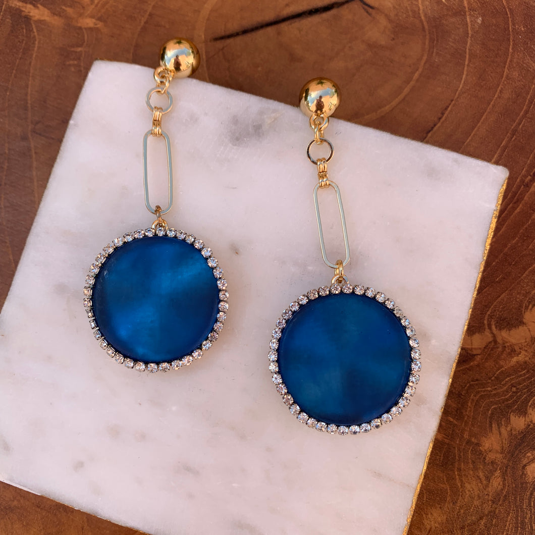 Gold Tone Drop Earrings With Blue Disk With Rhinestone Edges