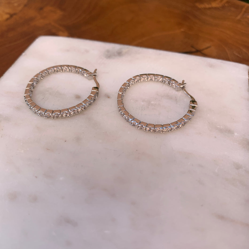 Silver Tone Thin Inside Out Crystal Hoop Earrings