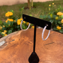 Load image into Gallery viewer, Silver Tone Thin Inside Out Crystal Hoop Earrings