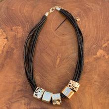 Load image into Gallery viewer, Multi Strand Black Leather Cord With Gold Tone Slides Necklace